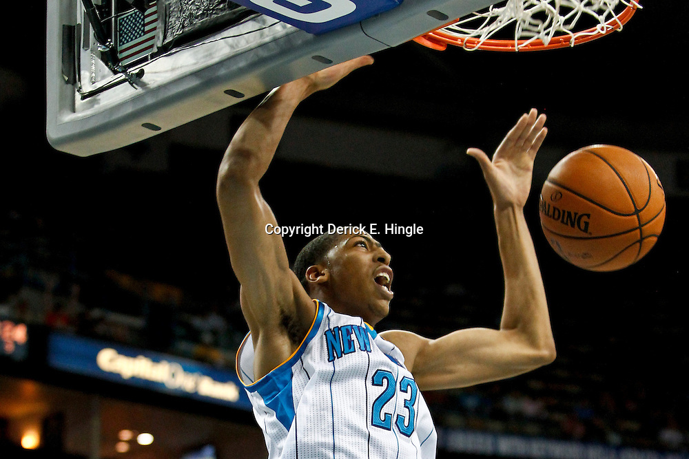 October 9, 2012; New Orleans, LA, USA; New Orleans Hornets forward Anthony Davis (23) dunks against the Charlotte Bobcats during the first quarter of a game at the New Orleans Arena.   Mandatory Credit: Derick E. Hingle-US PRESSWIRE