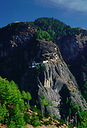 The Tak Tsang (Tiger's Nest) Buddhist monastery nestled on the granite cliffs above Paro, Bhutan.