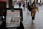 London Evening Standard newspapers with a headline about the latest on the rapid spread of the Chinese-source killer Coronavirus on their front pages, are displayed at Victoria station, on 30th January 2020, in London, England.