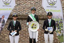 Podium ZZ, Van Dijck Sakina, Swinnen Celione, Nestor Lotte<br /> Nationaal Kampioenschap LRV <br /> Paarden Dressuur - Oudenaarde 2020<br />  04/10/2020