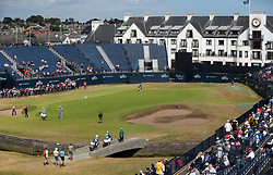 A view of the 18th green and Clubhouse during preview day four of The Open Championship 2018 at Carnoustie Golf Links, Angus. PRESS ASSOCIATION Photo. Picture date: Wednesday July 18, 2018. See PA story GOLF Open. Photo credit should read: David Davies/PA Wire. RESTRICTIONS: Editorial use only. No commercial use. Still image use only. The Open Championship logo and clear link to The Open website (TheOpen.com) to be included on website publishing.