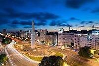 HOTEL REPUBLICA, EL OBELISCO, PLAZA DE LA REPUBLICA Y AVENIDA 9 DE JULIO AL ANOCHECER, BUENOS AIRES, ARGENTINA (PHOTO BY © MARCO GUOLI - ALL RIGHTS RESERVED. CONTACT THE AUTHOR FOR ANY KIND OF IMAGE REPRODUCTION)