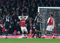 Football - 2017 / 2018 Premier League - Arsenal vs. Manchester United<br /> <br /> Aaron Ramsey (Arsenal FC) with arms behind his head as another chance goes close at The Emirates.<br /> <br /> COLORSPORT/DANIEL BEARHAM