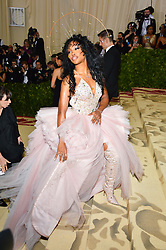 SZA attending the Costume Institute Benefit at The Metropolitan Museum of Art celebrating the opening of Heavenly Bodies: Fashion and the Catholic Imagination. The Metropolitan Museum of Art, New York City, New York, May 7, 2018. Photo by Lionel Hahn/ABACAPRESS.COM