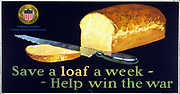 Title: Save a loaf a week - help win the war Published 1917. Summary: Poster showing a loaf of bread cut by a knife.