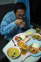 Dining on Thai Railways - The State Railways of Thailand are easily the best way to get around and see the country.  Train travel is comfortable, safe, cheap, environmentally friendly.  And unlike flying, it's a genuine Thai experience that makes the journeys as much part of your trip as the destinations.  In fact, Thailand has one of the best metre-gauge rail systems in the world.  An added benefit is the fares are very low, food is brought to your sleeping berth on order, and trains run on time.