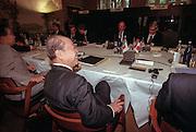 Japanese Finance Minister Kiichi Miyazawa during a working meeting at the International Monetary Fund World Bank annual meeting October 6, 1998 in Washington, DC.