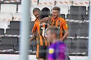 GOAL 1-2 Hull City forward Josh Magennis (27) and celebrates during the EFL Sky Bet League 1 match between Milton Keynes Dons and Hull City at stadium:mk, Milton Keynes, England on 21 November 2020.