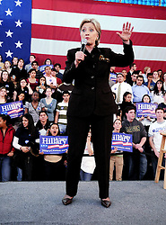 US Senator and Presidential candidate Hillary Clinton takes the stage for a campaign rally at Washington Lee High School on Feburary 7, 2008 in Arlington, Virginia. Clinton's race for the White House showed vulnerability as she admitted tapping her own pocketbook for five million dollars to keep up a grueling fight against rival Barack Obama. Photo by Olivier Douliery /ABACAPRESS.COM