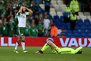 David Meyler , the captain of Republic of Ireland fouls Wales goalkeeper Wayne Hennessey ® and gets a yellow card off referee Damir Skomina.Wales v Rep of Ireland , FIFA World Cup qualifier , European group D match at the Cardiff city Stadium in Cardiff , South Wales on Monday 9th October 2017. pic by Andrew Orchard, Andrew Orchard sports photography