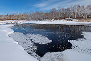 Ice on White Lake at Rainbow Falls<br /> Whiteshell Provincial Park<br /> Manitoba<br /> Canada