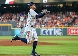 July 28, 2018 - Houston, TX, U.S. - HOUSTON, TX - JULY 28:  Houston Astros center fielder George Springer (4) celebrates after hitting a homer in the top of the fourth inning during the baseball game between the Texas Rangers and Houston Astros on July 28, 2018 at Minute Maid Park in Houston, Texas.  (Photo by Leslie Plaza Johnson/Icon Sportswire) (Credit Image: © Leslie Plaza Johnson/Icon SMI via ZUMA Press)