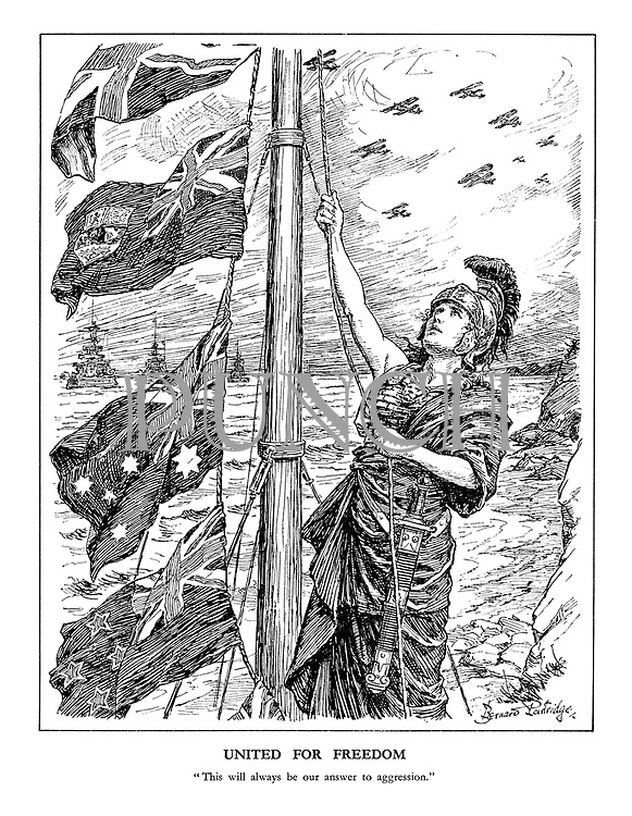 "United for Freedom. ""This will always be our answer to aggression."" (an armed Britannia hoists the flags of the Commonwealth, New Zealand, Australia and Canada amid battleships and airforce planes)"