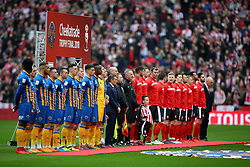 General view as the teams line up for the national anthem during the Checkatrade Trophy final at Wembley Stadium, London.