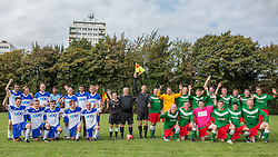 © Licensed to London News Pictures . 28/09/2014 . Birmingham , UK . Journalists in blue , Conservatives in green with Jeremy Hunt as Linesman first right of centre . Conservative Party vs Journalists football match at a Birmingham University football pitch , at the start of the conference . The 2014 Conservative Party Conference in Birmingham . Photo credit : Joel Goodman/LNP