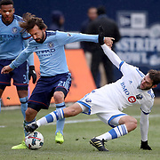 NEW YORK, NEW YORK - March 18:  Andrea Pirlo #21 of New York City FC is challenged by Ignacio Piatti #10 of Montreal Impact during the New York City FC Vs Montreal Impact regular season MLS game at Yankee Stadium on March 18, 2017 in New York City. (Photo by Tim Clayton/Corbis via Getty Images)