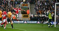 Photo: Steve Bond/Sportsbeat Images.<br /> Wolverhampton Wanderers v Bristol City. Coca Cola Championship. 03/11/2007. Liam Fontaine rises unchalklanged at the far post to equalise