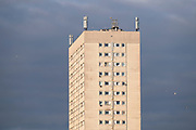 Social housing estate high rise tower block in Highgate on 7th January 2021 in Birmingham, United Kingdom. Following the Big City Plan of February 2008, Highgate is now a district of Birmingham City Centre, yet is a very poor area of housing estates, lacking in investment.