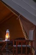 Close-up of lamp illuminated in vintage style camping, Rani Pani Safari Lodge, Sohagpur, Madhya Pradesh, India