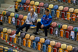 Coach Roberto Piazza of Netherlands, Ass. coach Giovanni Rossi of Netherlands in action during the CEV Eurovolley 2021 Qualifiers between Sweden and Croatia at Topsporthall Omnisport on May 15, 2021 in Apeldoorn, Netherlands