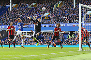 Mason Holgate of Everton and Oumar Niasse of Everton watch as their goal attempt is cleared off the line by Andrew Surman of Bournemouth (6). Premier league match, Everton vs Bournemouth at Goodison Park in Liverpool, Merseyside on Saturday 23rd September 2017.<br /> pic by Chris Stading, Andrew Orchard sports photography.
