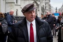 © Licensed to London News Pictures. 21/12/2012. London, UK. Former National Union of Mineworkers (NUM) leader Arthur Scargill is seen outside the Royal Courts of Justice in London today (21/12/12). Mr Scargill, the leader of the NUM during the 1980s, was in court in an attempt to continue to meet the costs of his London flat after the union stated it had no obligation to do so. Photo credit: Matt Cetti-Roberts/LNP