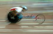Sep 1, 2007; Osaka, JAPAN; Kota Hokinoue (JPN) is a blur in the wheelchair 1,500m in the 11th IAAF World Championships at Nagai Stadium.