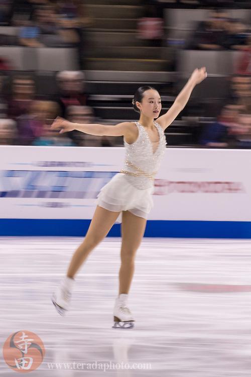 January 3, 2018; San Jose, CA, USA; Tessa Hong performs in the ladies short program during the 2018 U.S. Figure Skating Championships at SAP Center.