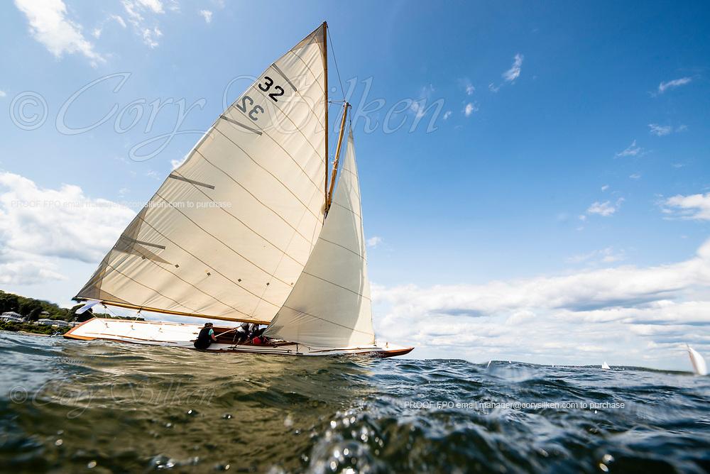Tilly XV sailing at the Herreshoff Classic Yacht Regatta.
