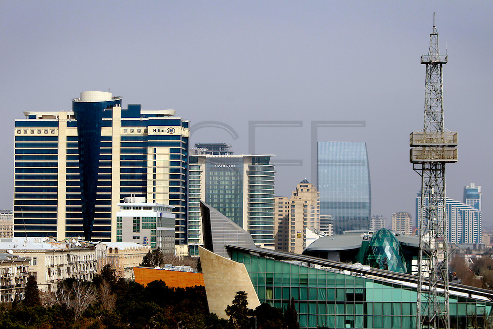 Cityscape shows recently constructed modern buildings near the Caspian sea. Azeri GDP grew 41.7% in the first quarter of 2007, possibly the highest of any nation worldwide, as the country economy completed its post-Soviet transition into a major oil based economy.<br /> Baku was awarded the right to host of the first European Games, a multi-sport event.