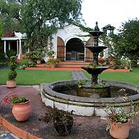 South America, Ecuador, Cotacachi. La Mirage Garden Hotel Fountain