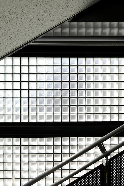glass blocks wall in stairwell