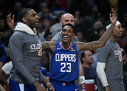 November 15, 2018 - Los Angeles, California, U.S - Lou Williams #23 of the Los Angeles Clippers reacts after winning their NBA game against the San Antonio Spurs on Thursday November 15, 2018 at the Staples Center in Los Angeles, California. Clippers defeat Spurs, 116-111. (Credit Image: © Prensa Internacional via ZUMA Wire)