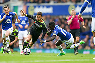 Eden Hazard of Chelsea (l) and Idrissa Gueye of Everton battle for the ball. Premier league match, Everton v Chelsea at Goodison Park in Liverpool, Merseyside on Sunday 30th April 2017.<br /> pic by Chris Stading, Andrew Orchard sports photography.