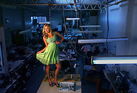 Model Ally Parry in an Amar dress in the factory where the dress was made  .Pic By Craig Sillitoe SPECIALX 000 melbourne photographers, commercial photographers, industrial photographers, corporate photographer, architectural photographers, This photograph can be used for non commercial uses with attribution. Credit: Craig Sillitoe Photography / http://www.csillitoe.com<br /> <br /> It is protected under the Creative Commons Attribution-NonCommercial-ShareAlike 4.0 International License. To view a copy of this license, visit http://creativecommons.org/licenses/by-nc-sa/4.0/.
