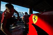 December 3-4, 2016: Ferrari Finali Mondiali, Ferrari mechanics work on Alesi's F1 car