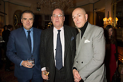 Left to right, DOMINIC MCCARTHY, PETER ACKROYD and DYLAN JONES at a cocktail reception hosted by the Woolmark Company, Pierre Lagrange and the Savile Row Bespoke Association to celebrate 'The Ambassador's Project' for London Collections Mens at Marks Club, Charles street, London on 8th January 2016.