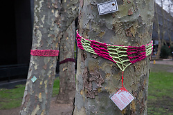 London, UK. 13th January, 2018. Plane trees in Euston Square Gardens are wrapped with hand-knitted scarves, many of which bear messages referring to arboricide. Activists opposed to the HS2 high-speed rail link have 'yarn-bombed' many of the more than 200 large trees in Euston Square Gardens expected to be felled to make way for temporary sites for construction vehicles and a displaced taxi rank as part of preparations for the controversial HS2 project in order to draw attention to their fate.