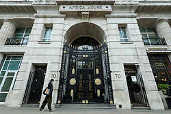 © Licensed to London News Pictures. 28/04/2021. LONDON, UK.  A general view of the entrance of Africa House on Kingsway, the headquarters of leading law firm Mischon de Reya.   Partners in the firm have voted to take the 83 year old firm public on the London stock market and investment bank JP Morgan has been appointed.  A valuation of £750m would make it the most highly valued law firm.  The firm represented Diana Princes of Wales during her divorce as well as on the UK Supreme Court's challenge to the government's decision to prorogue Parliament in 2020..  Photo credit: Stephen Chung/LNP