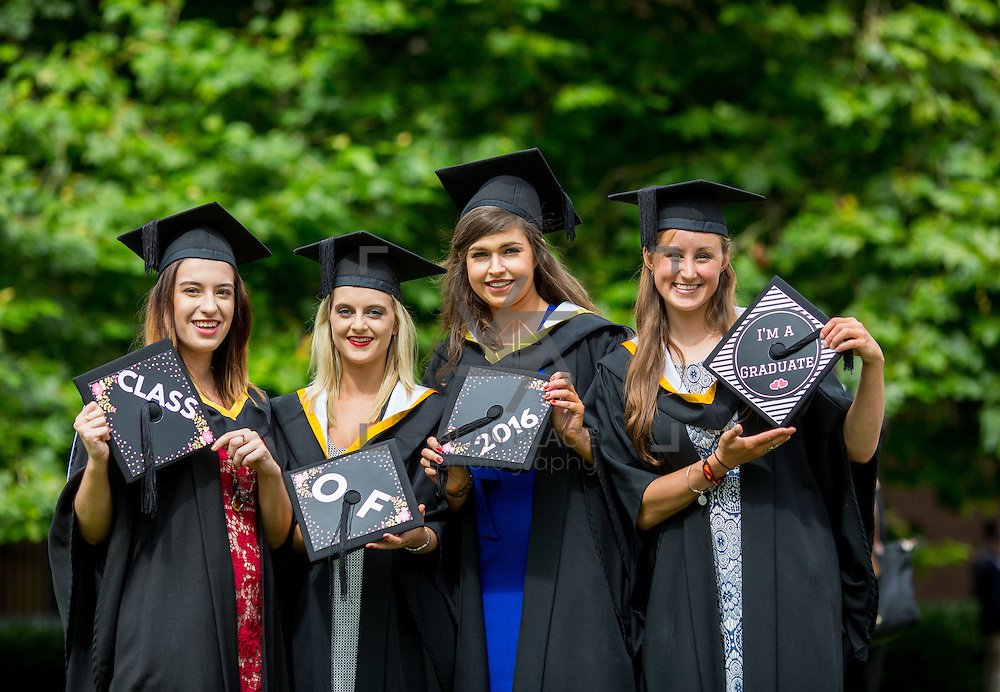 """23.08.2016        <br /> Over 300 students graduated from the Faculty of Arts Humanities and Social Sciences at the University of Limerick today. <br /> <br /> Attending the conferring ceremony were graduates, Aga Bojdol, Mallow Co. Cork, BA in Psychology and Sociology, Roisin O'Keeffe, Youghal Co. Cork, BA in Psychology and Sociology, Kate O'Mahony North Circular Road, Limerick, Bachelor of Law, and Tessa Kingstone, Kinsale Co. Cork, BA in Psychology and Sociology. Picture: Alan Place.<br /> <br /> <br /> <br /> <br /> UL Graduates Employability remains consistently high as they are 14% more likely to be employed after Graduation than any other Irish University Graduate<br /> Each year, the Careers Service collects information about the 'First Destinations' of UL graduates. During the April/May period following graduation, we survey those who have completed full-time undergraduate and postgraduate courses for details on their current status. This current survey was conducted nine months after graduation and focuses on the employment and further study patterns of the graduates of 2015. A total of 2,933 graduates were surveyed and a response rate of 87% was achieved. <br /> As the University of Limerick commences four days of conferring ceremonies which will see 2568 students graduate, including 50 PhD graduates, UL President, Professor Don Barry highlighted the continued demand for UL graduates by employers; """"Traditionally UL's Graduate Employment figures trend well above the national average. Despite the challenging environment, UL's graduate employment rate for 2015 primary degree-holders is now 14% higher than the HEA's most recently-available national average figure which is 58% for 2014"""". The survey of UL's 2015 graduates showed that 92% are either employed or pursuing further study."""" Picture: Alan Place"""
