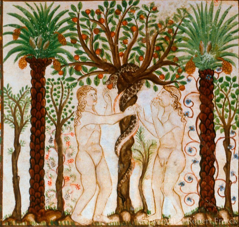 SPAIN, MEDIEVAL CANTIGAS Adam  and amp; Eve at the gates of heaven