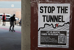 A poster advertising a protest by environmental activists and local residents against the construction of the Silvertown Tunnel is pictured on 5th June 2021 in London, United Kingdom. Campaigners opposed to the controversial new £2bn road link across the River Thames from the Tidal Basin Roundabout in Silvertown to Greenwich Peninsula argue that it is incompatible with the UK's climate change commitments because it will attract more traffic and so also increased congestion and air pollution to London's most polluted borough.