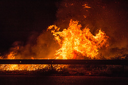 One of the fires that struck the cosentino in Calabria throughout the day and night destroying thousands of hectares of woods at the foot of Silas and Pollino. In the picture a fire in Corigliano. 12/07/2017, Corigliano, Italy