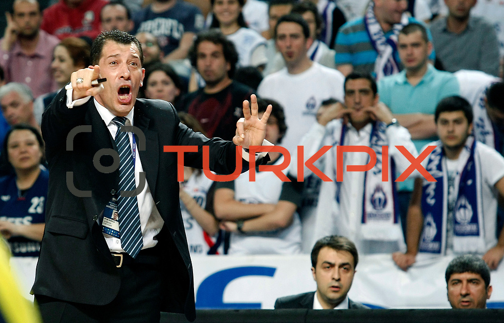 Efes Pilsen's coach Ufuk SARICA during their Turkish Basketball Legague Play-Off semi final second match Efes Pilsen between Fenerbahce at the Sinan Erdem Arena in Istanbul Turkey on Friday 27 May 2011. Photo by TURKPIX