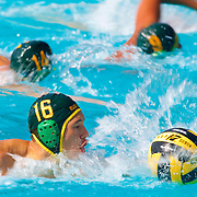 11/4/16 – Waterpolo – <br /> <br /> Golden West's Jacob Thompson leads the offensive charge against Saddleback during OEC Water Polo Tournament at Saddleback College in Mission Viejo, Calif., Nov. 4, 2016.<br /> <br /> Photo by Seth Laubinger / Sports Shooter Academy