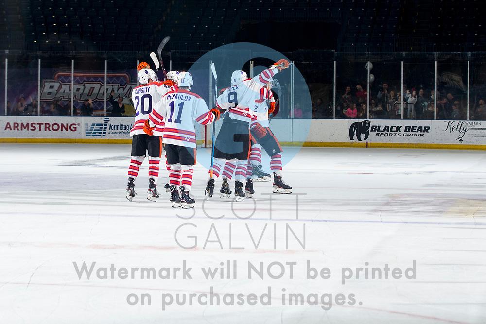 The Youngstown Phantoms defeat Team USA NTDP 6-5 in overtime at the Covelli Centre on January 11, 2020.<br /> <br /> Bradley Marek, forward, 9; Trevor Kuntar, forward, 16; Ben Schoen, forward, 19; Aiden Gallacher, defenseman, 2; Georgi Merkulov, forward, 11