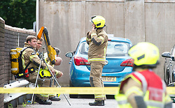 ©Licensed to London News Pictures 16/07/2020     <br /> Bromley, UK. Firefighters at the back of a building. A large emegency response in Bromley town Centre as two people are taken ill. A Bromley address has been evacuated due to a suspicious package.Photo credit: Grant Falvey/LNP