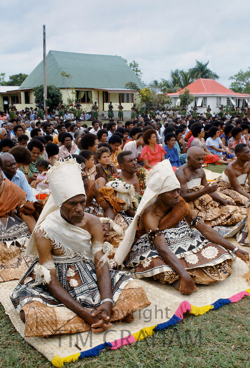 Fijian chiefs at tribal gathering cultural event in Fiji, South Pacific