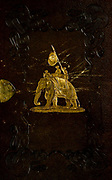 Engraved leather book cover with gilded artwork of an Indian Elephant From the book ' The Oriental annual, or, Scenes in India ' by the Rev. Hobart Caunter Published by Edward Bull, London 1835 engravings from drawings by William Daniell