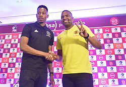 South Africa: Johannesburg: Orlando Pirates captain Happy Jele and Kaizer Chiefs Captain Itumeleng Khune poses photographs at the PLS officers in Parktown, after addressing members of the media on the much anticipated Soweto Derby on Saturday when Orlando Pirates host rivals Kaizer Chiefs for Absa Premiership match at FNB Stadium.<br />Picture: Itumeleng English/African News Agency (ANA)<br />961<br />24.10.2018